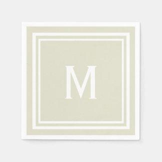 Modern Stylish Sandy Beige Custom Monogram Disposable Napkins