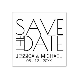Modern Stylish Wedding Save the Date Rubber Stamp