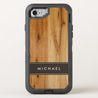 Modern Stylish Wood Grain Look Name OtterBox Defender iPhone 8/7 Case