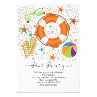 Modern Summer Pool Party 13 Cm X 18 Cm Invitation Card