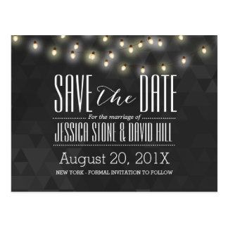 Modern Summer String Lights Wedding Save the Date Postcard
