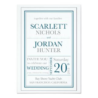 Modern Teal and Gray Wedding Invitation