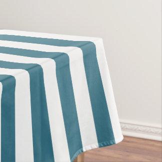 Modern Teal Blue Wide Stripe Tablecloth