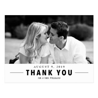 Modern Thank You Wedding Custom Photo Postcard