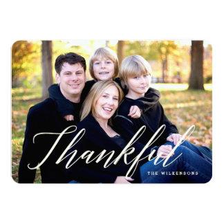 Modern Thankful Thanksgiving Photo Card