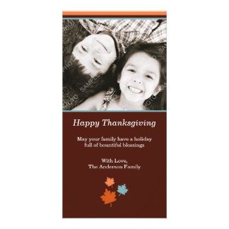 Modern Thanksgiving Fall Leaves Photo Card Template