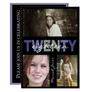 Modern Three Photo Graduation BLACK Ultra Violet Card