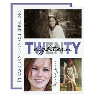 Modern Three Photo Graduation Ultra Violet Card