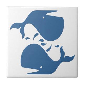 Modern Tile Sea Ocean Blue White Yin-Yang Whales