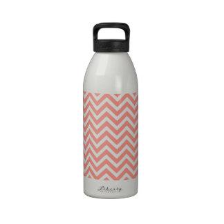 modern trend coral chevron reusable water bottles