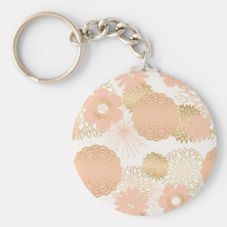 modern trends blush flower blooms basic round button key ring