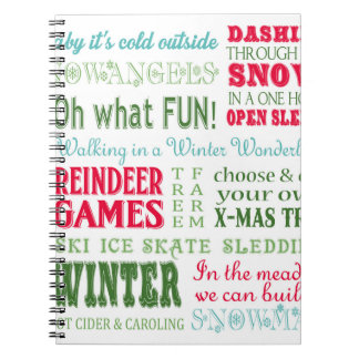 Modern trends Christmas typography Notebooks