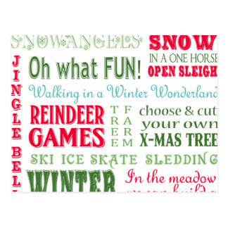 Modern trends Christmas typography Postcard