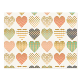 modern trends graphic hearts postcard