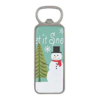 modern trends winter snowman magnetic bottle opener