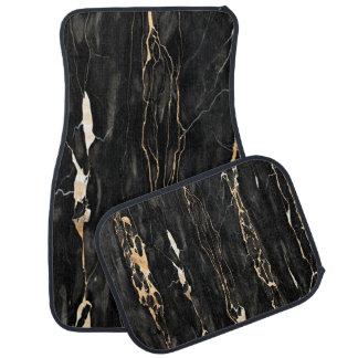 Modern Trendy Marble Pattern in Black Gold Grey Car Mat