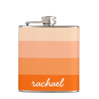 Modern Trendy Stripes Personalized Hip Flask