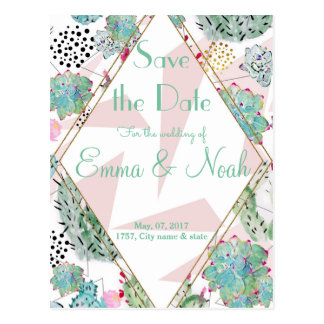 Modern triangles and cactus paint wedding design postcard