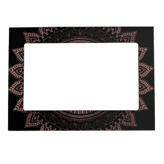 Modern tribal rose gold mandala design magnetic frame