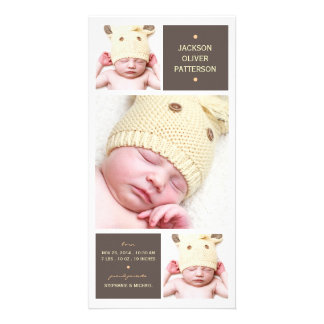 Modern Trio Photo Baby Girl Birth Announcement Custom Photo Card
