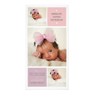 Modern Trio Photo Baby Girl Birth Announcement Customized Photo Card