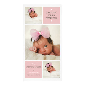 Modern Trio Photo Baby Girl Birth Announcement Personalized Photo Card