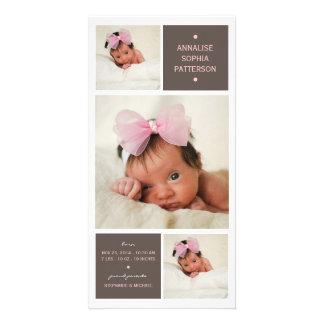 Modern Trio Photo Baby Girl Birth Announcement Photo Card Template