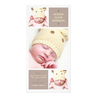 Modern Trio Photo Baby Girl Birth Announcement Picture Card