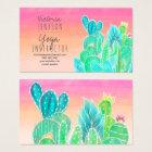Modern tropical exotic cactus illustration yoga business card
