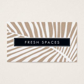 MODERN TROPICAL PALM LEAF logo trendy white kraft Business Card