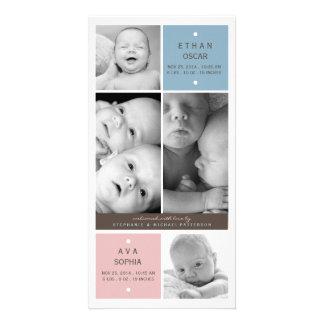 Modern Twin Babies Photo Birth Announcement Photo Card Template