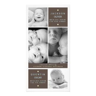 Modern Twin Boys Photo Baby Birth Announcement Personalized Photo Card