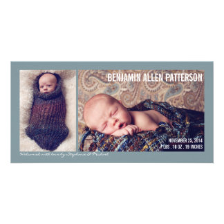 Modern Two Photo Baby Boy Birth Announcement Customised Photo Card