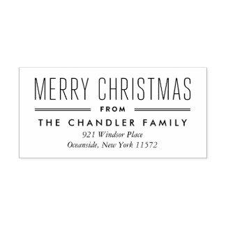 Modern Type Christmas Return Address Stamp