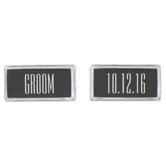 Modern Type Personalized Groom Silver Finish Cufflinks