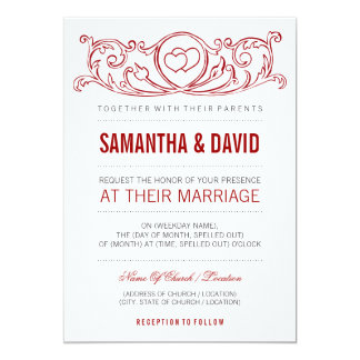 Modern Type Wedding Vintage Heart Swirls Red Card