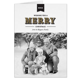 Modern Typography Black and Gold Christmas Card