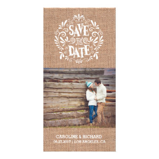 MODERN TYPOGRAPHY | BURLAP | SAVE THE DATE CARD PHOTO CARD