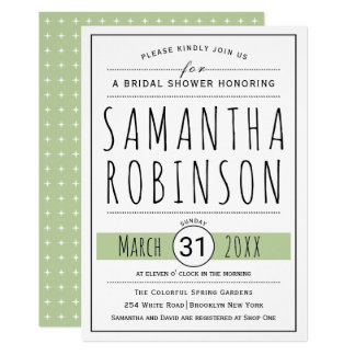Modern typography sage green wedding bridal shower card