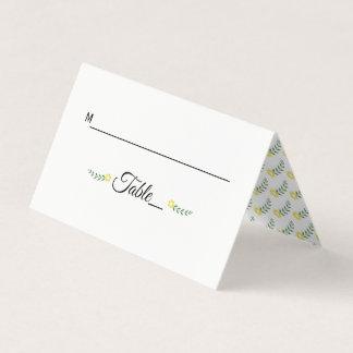 Modern typography yellow wedding folded escort place card