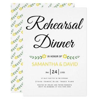 Modern typography yellow wedding rehearsal dinner card
