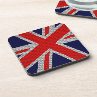 Modern Union Jack on Carbon Fiber Style Print Coaster