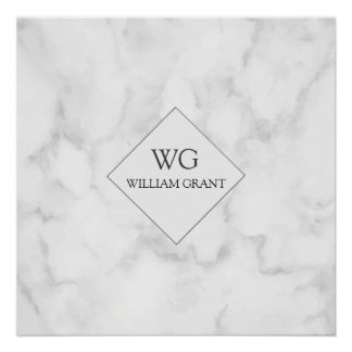Modern Upscale Business Monogram on White Marble Poster