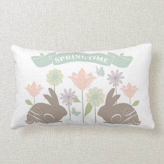 Modern vintage Easter bunny Lumbar Cushion