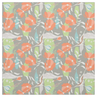 Modern vintage floral Coquelicot leaves pattern Fabric