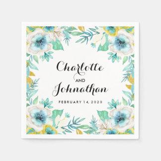 Modern Vintage Floral Wedding Cocktail Napkin Paper Napkin