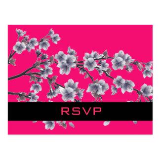 Modern Vintage Floral Wedding RSVP Postcard
