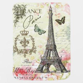 modern vintage french eiffel tower baby blanket