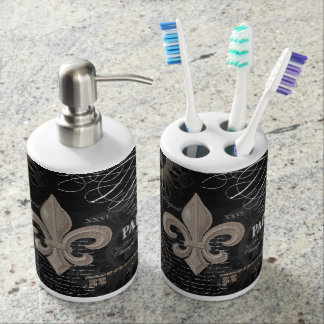 modern vintage french fleur de lis soap dispenser and toothbrush holder