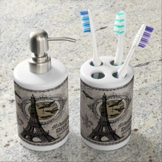 modern vintage french halloween Eiffel tower Soap Dispenser And Toothbrush Holder